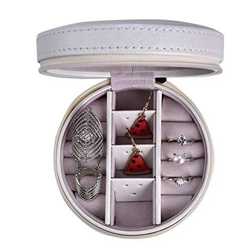 Joyero para mujer, organizador de joyas para aretes pulseras collares y anillos, estuche para joyas soporte portátil de cuero de PU para pendientes decoración de corona(White)