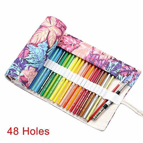 Alftek - Astuccio arrotolabile in tela per cosmetici, pennelli da trucco, custodia per matita, motivo stampato, 1-48 Loch