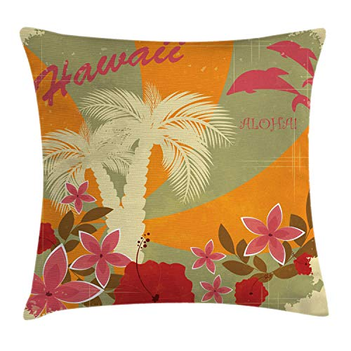 Ambesonne Hawaiian Throw Pillow Cushion Cover, Aloha Vintage Print Colorful Swirl Backdrop Dolphins Palm Trees Flowers, Decorative Square Accent Pillow Case, 18 X 18, Green Marigold