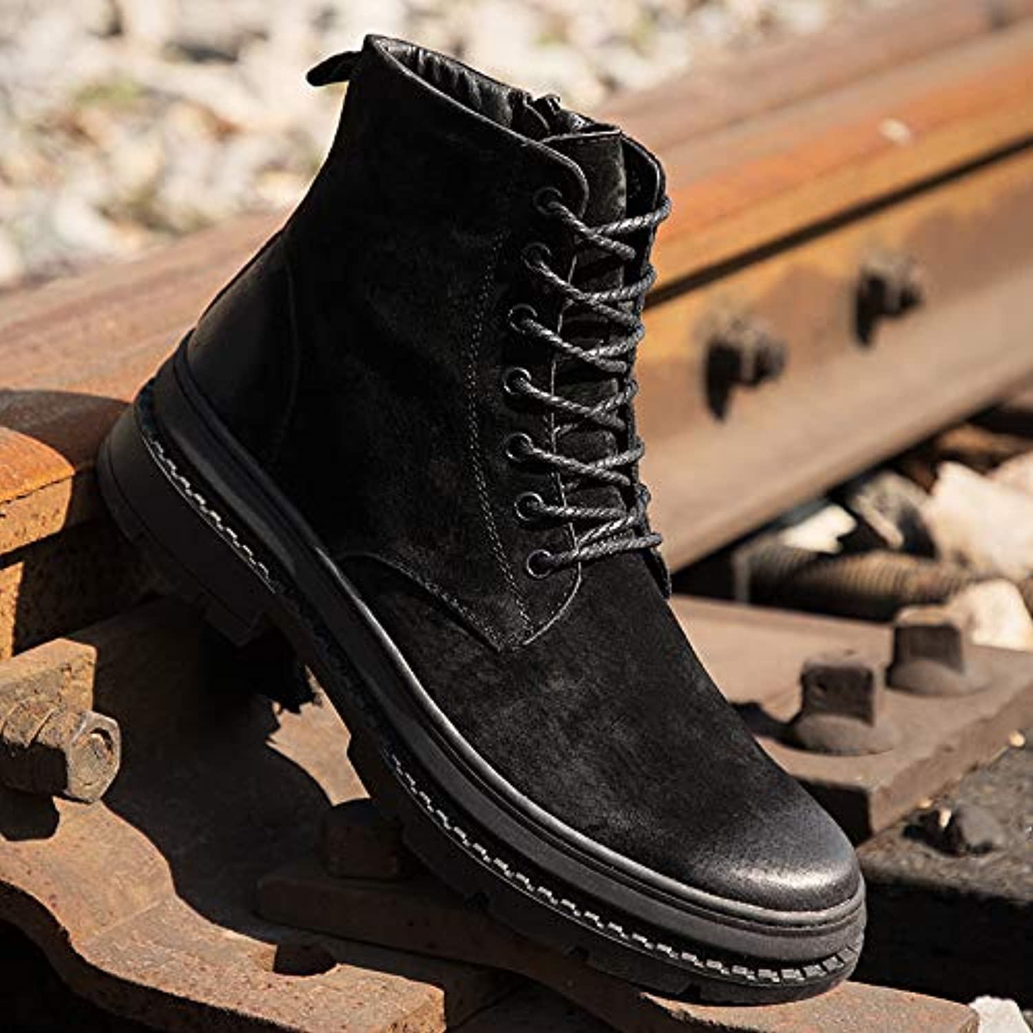 ZyuQ Ankle boots Mid-Autumn Martin Boots Men'S Fashion High-Top Snow Boots
