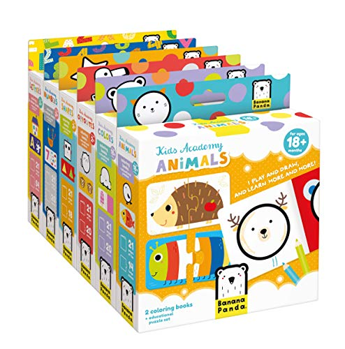 Banana Panda - KIDS ACADEMY BUNDLE - Complete Set of 6 boxes Includes 12 Activity Books and 70 Educational Puzzles for Teaching Early Learning Skills - Designed for Kids from Ages 18 Months to 3 Years