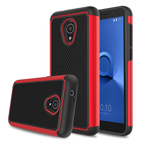 Elegant Choise Alcatel TCL LX Case(A502DL), Alcatel 1X Evolve Case, Alcatel Ideal Xtra Case, Hybrid Dual Layer Shock Absorbing Anti-Scratch Rugged Bumper Armor Defender Protective Case Cover (Red)