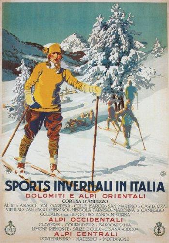 "TV45 Vintage 1926 Winter Sport Italy Italian Ski Skiing Travel Poster Re-Print - A3 (432 x 305mm) 16.5"" x 11.7"""