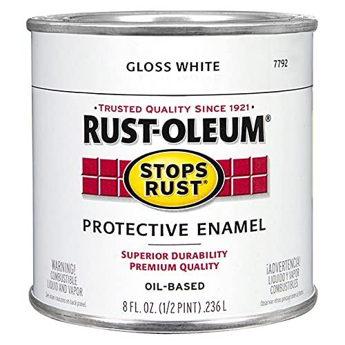 Rust-Oleum 7792730 Stops Rust Brush On Paint, 8 Fl Oz (Pack of 1), Gloss White