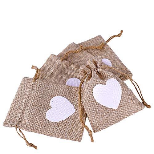 Gudotra 50pz Sacchetti Portaconfetti con Cuore Bianco in Tela Itua Bustine Bomboniere per Matrimonio Battesimo Compleanno Natale Confetti Regalo Gioielli 9 * 13CM