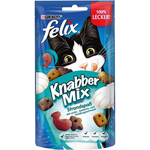 FELIX KnabberMix Strandspaß Katzensnack, Knusper-Leckerlie mit Fisch-Geschmack, 8er Pack (8 x 60g)