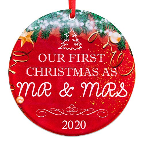 SICOHOME First Christmas Mr & Mrs 2020,3' Double-Side Printed Keepsake Ornament,1st Year Married Newlyweds Ornament
