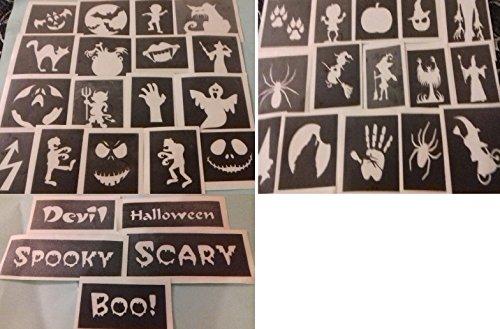 Body Art Desire 200 pochoirs Halloween pour Les Tatouages Paillettes / aérographe garçons Filles financement