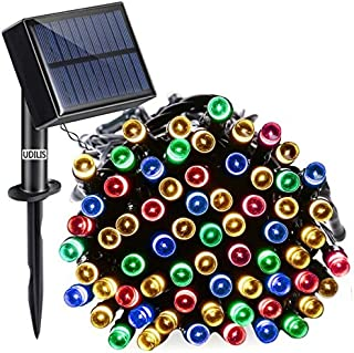 Christmas Lights Outdoor String Lights, OUDILIES 100 LED Solar Lights, (8 Modes Waterproof IP65) Battery Operated Starry String Lights for Outdoor, Home, Xmas Tree, Garden, Wedding USB Charge Support