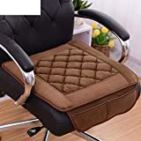 Seat cushion with two pockets [plush] Comfortable fabrics Sleeveless elastic rope Anti-slip black A 20 * 20in