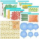 SOLEDI 18 pièces Sac de Congelation reutilisable Couvercle Silicone et Emballage en Cire...