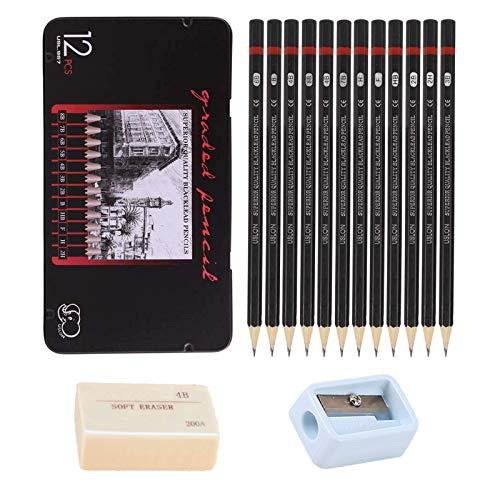 Johiux Bleistift Set und Zeichnung Bleistifte, Sketching Pencils 8B -2H, Kunststift Perfekt für Anfänger, Kinder oder professionelle Künstler, Radiergummis und Anspitzer (1 box)