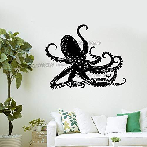 wanmeidp Vinilo Vinilo Pulpo Paul Siren Marine Life baño Arte Pegatina Mural decoración extraíble