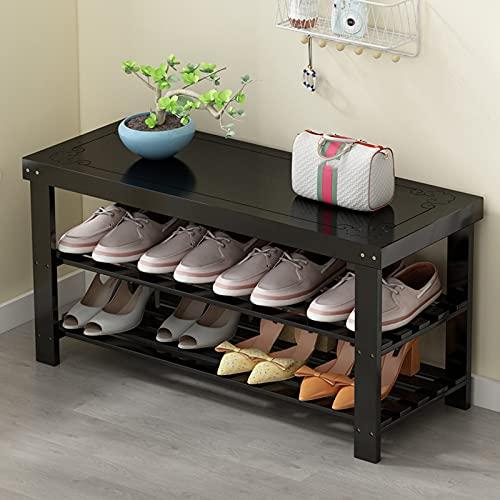 LJKD Zapatero de bambú, Banco de Zapatos, Estante para organizar hasta 8 Pares de Zapatos (3 Niveles),Negro