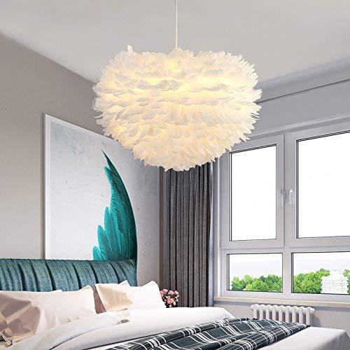 Weiß Flauschiger Feder-Lichtschirm, Kronleuchter Deckenleuchte Pendelleuchte Lampenschirm mit E27 Glühbirne Stehlampen, für Wohnzimmer Esszimmer Schlafzimmer Stehlampe Tischlampe Feder Lampenschirm