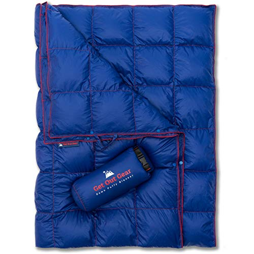 Get Out Gear Down Camping Blanket - Lightweight Warm and Packable | Ideal for Backpacking,Travel, Festivals, Beach, Hammock | 650 Fill Power Water-Resistant Backpacking Quilt (Blue/Red)