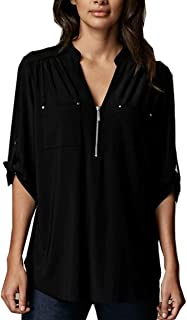 Women's V Neck Zipper Long Sleeve Roll-Up Sleeve Zip Up Casual Shirt Blouse Tops