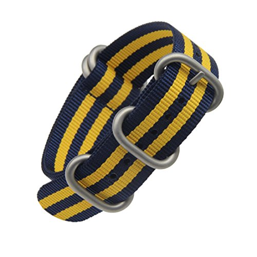 20mm one-piece NATO nylon men's watch straps of blue/yellow fabric strips