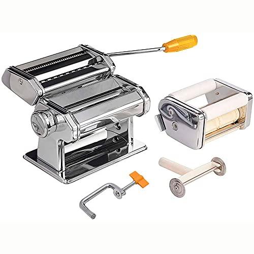 Maestro MR-1679R Máquina para Hacer Pasta Fresca Manual, Cortar Pasta, Acero Inoxidable, 8 Ajustes de Grosor, Pasta Maker, Accesorio para Raviolis, Fácil Manejo Para Casa, Lasaña, Espaguetis, Fideos