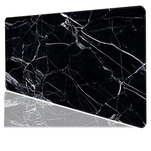 Medium Gaming Mouse Pad Mat Extended Professional Medium Size 27.5inX11.8inX0.1in Mouse Keyboard Pad with Stitched Edges, Anti-Slip Rubber Base Huge Desk Pad Mat (Black Marble)