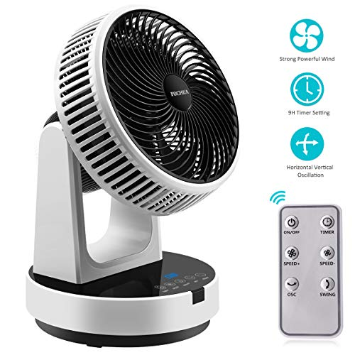 Ventilator, FOCHEA Kraftvoller Turbo Tischventilator/Luftzirkulationsventilator mit Fernbedienung, 12-Stufig einstellbar, Horizontal Vertikal Oszillierend, 9H Timer-Einstellfunktion