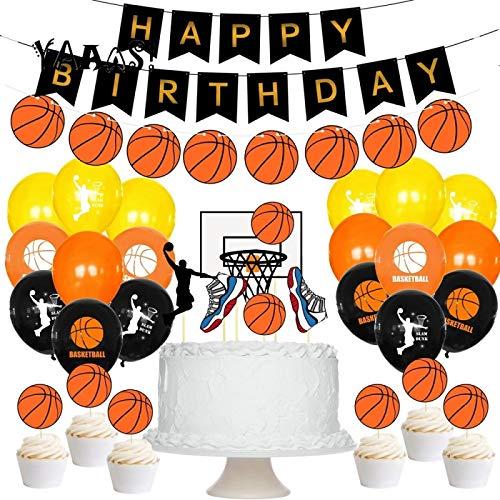GSDJU Décoration de fête d'anniversaire,Fanion,Bannières décoratives,27 Piezas de Baloncesto Tema cumpleaños Globo Banner Suministros de Fiesta Cupcake Toppers Decoraciones Baloncesto cumpleaños