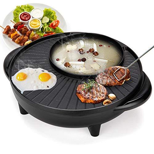 Griglia Elettrica Pentola Multifunzione Senza Fumo Barbecue Pentola Hotpot Forno Elettrico per Uso Domestico Senza Padella E Antiaderente