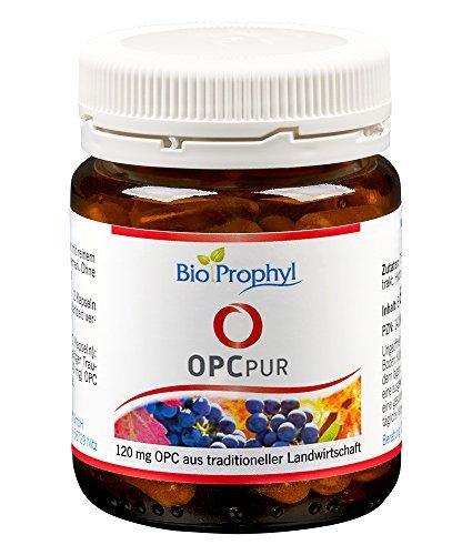 BioProphyl® OPCpur mit 120 mg reinem OPC ohne Vitamin C aus der Acerolakirsche - 300 mg Traubenkernextrakt aus französischen Trauben - 60 pflanzliche Kapseln für 1-2 Monate