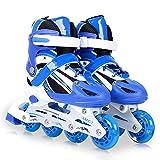 Patines en línea ajustables para niños con ruedas iluminadas para niños divertidos e iluminadores intermitentes con rodamientos ABEC-7 para exteriores, azul, S