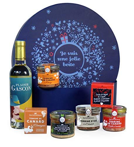 """Ducs de Gascogne - Coffret gourmand """"Le délicieux"""" - comprend 6 produits dont un bloc de foie gras et un vin blanc - spécial cadeau (946536)"""