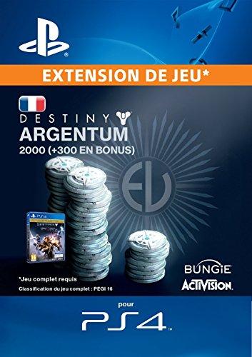 2000 (+ 300 en bonus) Argentum de Destiny [Code Jeu PSN PS4 - Compte français]