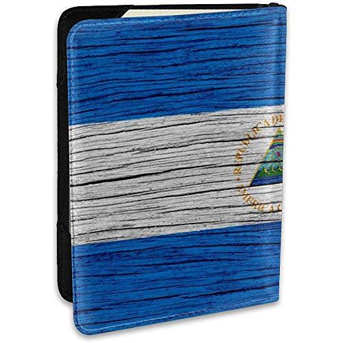 Nicaragua Textura de Madera Bandera nicaragüense Moda Funda de Cuero Pasaporte Funda Funda de Viaje Monedero 6.5 In