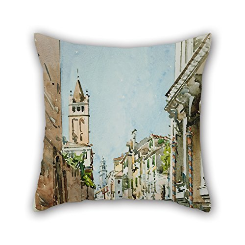 N / A Pillow Covers Of Oil Painting Edward Darley Boit - Rio Di San Barnaba, Venice Best Fit For Seat Lounge Adults Bar Seat Festival Play Room Both Sides