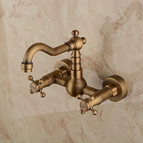 Hiendure® Montado en la Pared de latón Macizo Grifo Mezclador de Cocina Baño Inspirado Sink Tap, Acabado de latón Antiguo