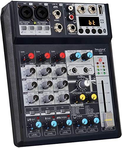 Depusheng DE8 Mini mezclador de DJ de sonido de 8 canales Consola de reverberación Mezclador de tarjeta de sonido USB Mezclador de audio de efecto DSP para grabación por computadora, bandas
