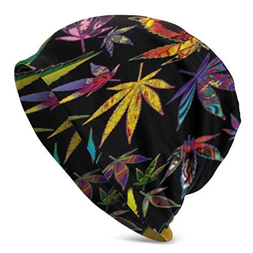 Whecom Pot Leaves Kunst Frauen Männer Stilvolle Mütze Hut Stretch Strick Slouchy Skull Cap