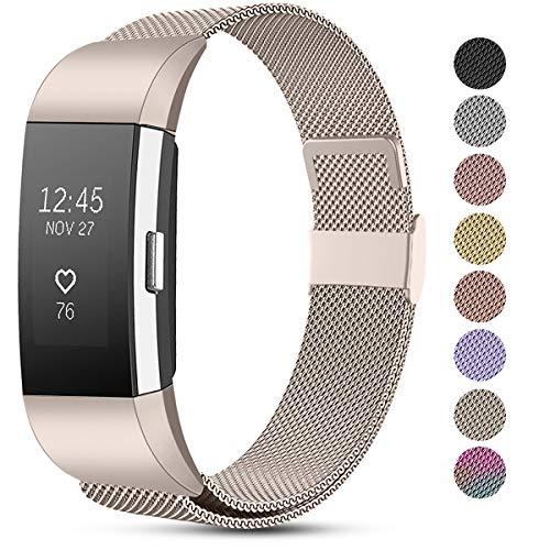 Funbiz Compatibel met Fitbit Charge 2 Band, Roestvrijstalen Metalen Gaasband Vervangende Draagriem voor Fitbit Charge 2, Heren Dames Klein Groot