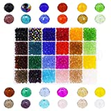 Glass Beads for Jewelry Making, Faceted Briolette Rondelle Speacer Bead 1200pcs 24 Colors, 6mm Crystal Beads for Earrings Bracelet Necklace DIY Craft Decorative