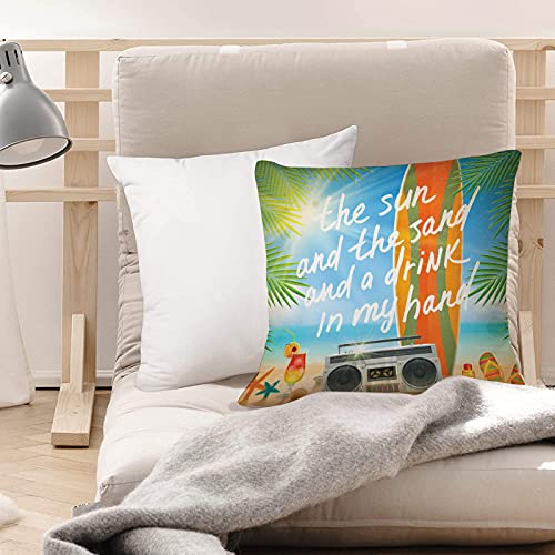 Funda de Cojines Suave Poliéster,Presupuesto, diseño retro playa tropical con tabla de surf,Funda de Almohada Cremallera Oculta Duradero Decoración para Sofá Cama Dormitorio Aire Libre Oficina 45x45cm