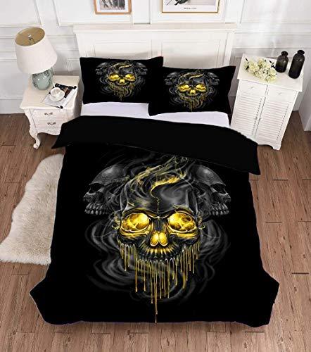 Msortatnl Creative Black Golden Halloween Soft Duvet Cover Quilt Bedding Set With Pillowcases - Single (135 X 200 Cm)