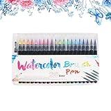 Boji Juego de pinceles, 20 colores, calidad prémium, pincel suave, juego de acuarela, rotulador, efecto lápiz, ideal para libros de colorear, manga, cómic, caligrafía