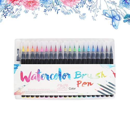 Guilin 20 Color Premium Painting Soft Brush Pen Set Watercolor Markers Pen Effect Best for Coloring Books Manga Comic Calligraphy