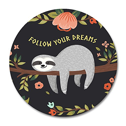 Baby Sloth Round Mouse Pad by Smooffly,Follow Your Dreams Round Mouse pad Cute Baby Sloth On The Tree
