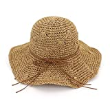 Zhuhaitf Playa de Verano Sombrero de sol Plegable Hueco Suave Ala Ancha Sombrero de paja...