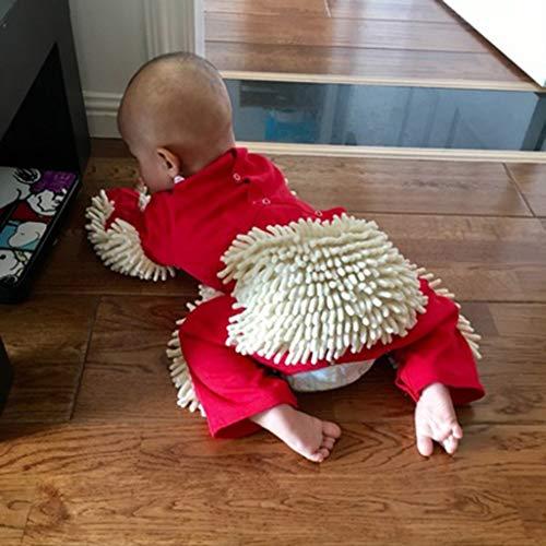 Baby Kleidung Reinigungsmop Overall Strampler Jumpsuit Kinder Spielanzug Schneeanzüge zum Krabbeln - Rot + Beige, 73 cm