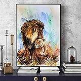 wZUN Cartel de león de Acuarela Abstracta Animal Print Arte de Pared Lienzo Pintura y Arte Pared Sala de Estar decoración de Imagen para el hogar 60X90 Sin Marco