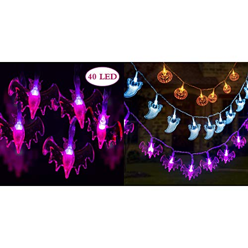 GIGALUMI Halloween Decoration Lights Halloween String Lights,Set of 3 Battery Operated Waterproof Lights & 40 LEDs Purple Bats Halloween String Lights with 8 Modes