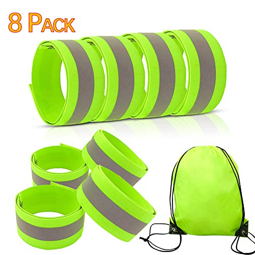 8 Pack Reflective Bands, High Visibility Reflective Running Gear for Arm/Wrist/Ankle/Leg, Runners Reflector Tape for Men Women, Night Running Gear for Walking, Running, Cycling