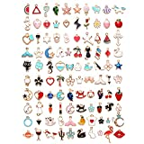 XUBX 100 piezas Colgantes, Dijes de Esmalte, Surtidos Colgante Charm Accesorios De Aleación, Diferentes Estilos DIY Encantos para de la Joyería de Bricolaje, Llaveros, Pulseras, Collares, Pendientes