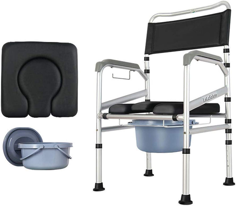 Shengshiyujia Nacht Kommode Stuhl - Toilettensitz Kommode für Senioren, Behinderung, ltere Personen - Duschstuhl - hhenverstellbar, zusammenklappbar, tragbar, leicht, breiter WC-Stuhl mit Deckel